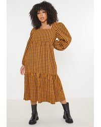 Missguided Size Rust Gingham Smock Dress - Brown