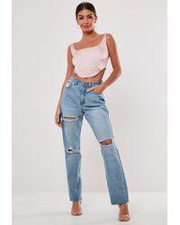 Missguided Stassie X Light Blue Wrath Highwaisted Slash Straight Leg Jeans