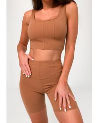 Missguided Camel Corset Crop Top Cycling Short Co Ord Set - Multicolour