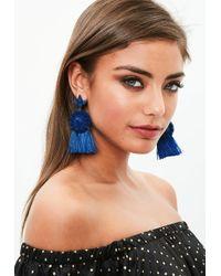Missguided - Blue Dropped Tassel Earrings - Lyst
