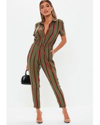 2bd017b232 Lyst - Miss Selfridge Khaki Ribbed Collar Horn Jumpsuit in Natural
