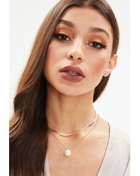 Missguided | Gold Double Chain Pearl Necklace | Lyst