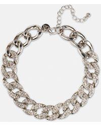 Missguided Bracelet de cheville argenté chaîne plate en strass - Métallisé