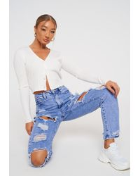 Missguided Light Blue Highwaisted Ripped Mom Jeans