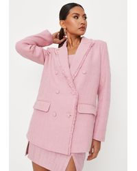 Missguided Pink Tailored Boucle Double Breasted Blazer
