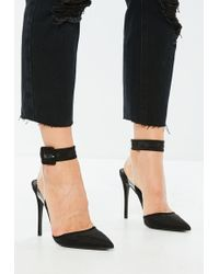Missguided Black Floating Ankle Open Back Court Shoes