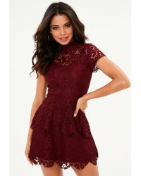 Missguided - Burgundy Double Layer Lace Dress - Lyst