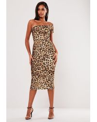 Missguided - Leopard Print One Shoulder Midaxi Dress - Lyst