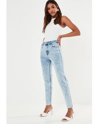 Missguided Highwaisted Acid Wash Mom Jeans - Blue