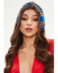 Missguided - Blue Printed Knot Front Headband - Lyst