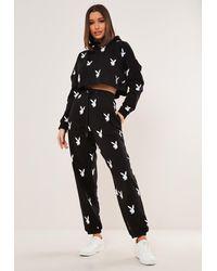 Missguided X Black Repeat Print Oversized Sweatpants