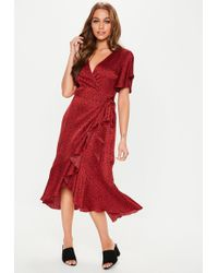 Missguided - Red Polka Dot V Plunge Ruffle Midi Dress - Lyst