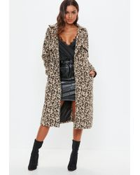 Missguided - Brown Leopard Belted Faux Wool Trench - Lyst