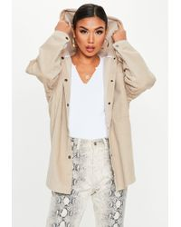 Missguided - Sand Cord Hooded Button Jacket - Lyst