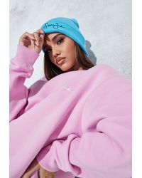 Missguided Sean John X Turquoise Branded Beanie Hat - Pink
