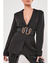 Missguided Faux Leather Snake Detail Buckle Waist Belt - Black
