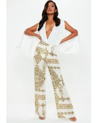 Missguided - Cream Chain Print Wide Leg Trousers - Lyst