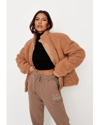 Missguided Tan Padded Faux Fur Jacket - Brown