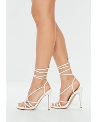 Missguided - White Faux Leather Tie Up Gladiator Sandals - Lyst