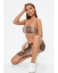 Missguided Nude Snake Print Co Ord Bandeau - Natural