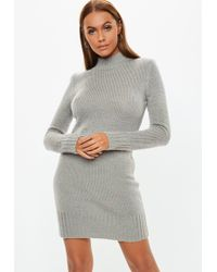 Lyst - Missguided Grey Roll Neck Jumper Dress in Gray 7a1e1c9b2
