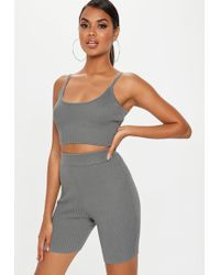 8eff22b59d7c5 Lyst - Missguided Grey Washed Overlay Ribbed Bra Top in Gray