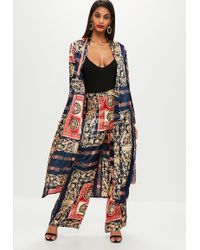 Missguided | Navy Satin Printed Duster Kimono | Lyst