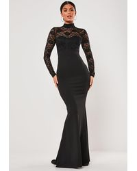 Missguided - Black Lace Long Sleeve Maxi Dress - Lyst
