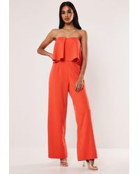 Missguided - Red Bandeau Frill Wide Leg Romper - Lyst