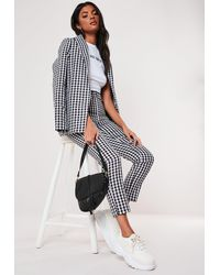 Missguided Black Gingham Co Ord Belted Cigarette Trousers