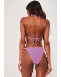 Missguided - Lilac Crinkle High Leg Side Tie Bikini Bottoms - Lyst