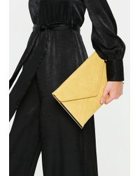 Missguided - Mustard Suedette Metal Trim Envelope Clutch - Lyst