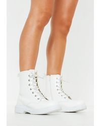 Missguided - White Chunky Sole Lace Up Ankle Boots - Lyst