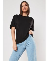Missguided Black Crew Neck Roll Sleeve T Shirt
