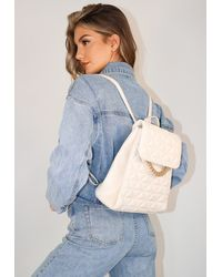 Missguided Faux Leather Quilted Chain Detail Backpack - Blue
