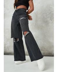 Missguided Knee Rip Baggy Boyfriend Jeans - Black