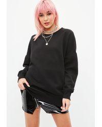 Missguided - Black Oversized Crew Neck Sweatshirt - Lyst