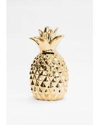 Missguided Gold Pineapple Money Box - Metallic