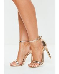81cb2cfe702e Lyst - Missguided Strappy Barely There Heeled Sandals Rose Gold in Blue