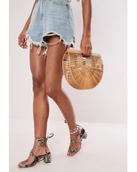 Missguided Tan Bamboo Half Moon Cage Bag - Brown