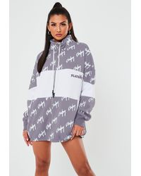 Missguided X Grey Colourblock Zip Through Sweatshirt