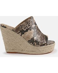 Missguided Nude Snake Effect Wedges - Natural