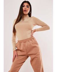 Missguided Seam Free High Neck Long Sleeve Bodysuit - Natural