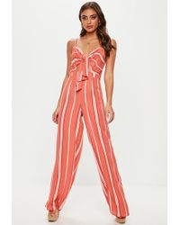 Missguided - Red Stripe Tie Front Wide Leg Jumpsuit - Lyst