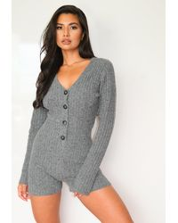 Missguided Grey Lounge Cosy Rib Playsuit