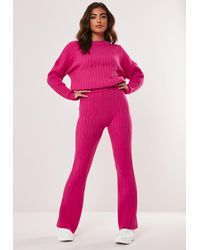 Missguided Raspberry Co Ord Cable Flare Leg Knit Trousers - Pink