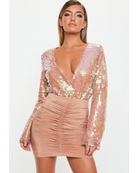 Missguided - Blush Sequin Wrapover Bodysuit - Lyst
