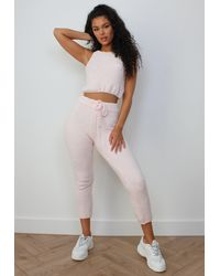 Missguided - Pink Co Ord Cosy Knit Joggers - Lyst