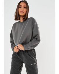 Missguided Washed Cropped Sweatshirt - Gray