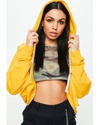 Missguided - Yellow Cropped Raw Hem Hoodie - Lyst